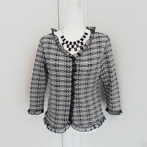 Tops - Vintage black and white ruffle blouse